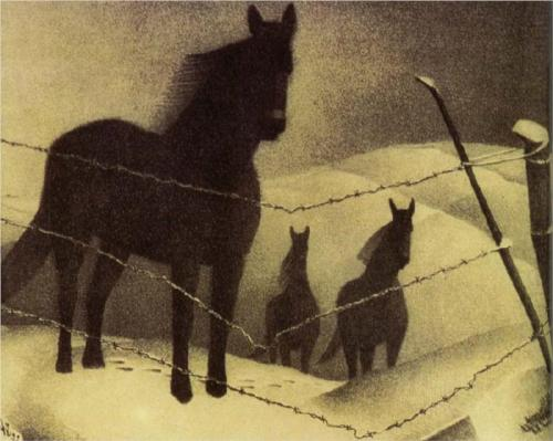 February by Grant Wood (1940) three horses stanging in the snow. Cold, barbed wire, winter, chill