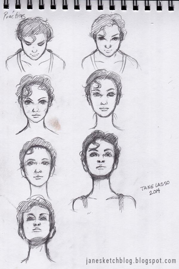 Dibujo de caras en varios ángulos