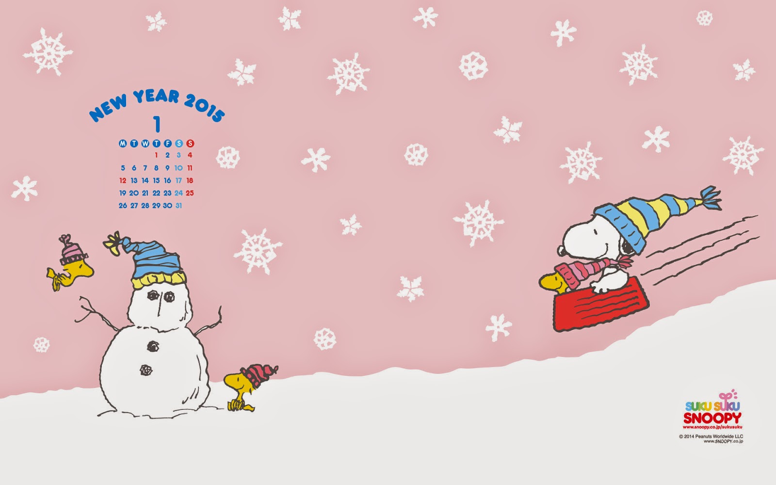 I Love Kawaii Snoopy January 2015 Wallpaper Calendar