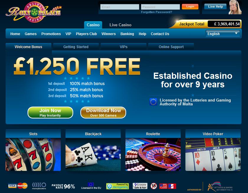 Roxy palace casino 10 free