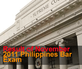 Bar examination result last November 2011