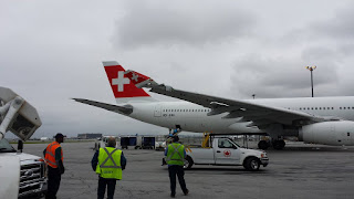 Damage to the right wing tip of Swiss Airlines Airbus A330 aircraft
