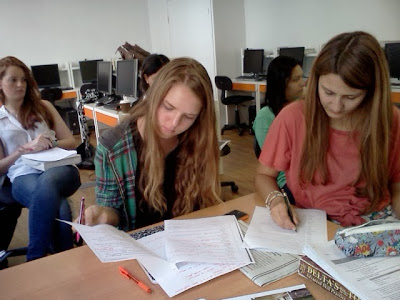 photo: students preparing for the TOEFL