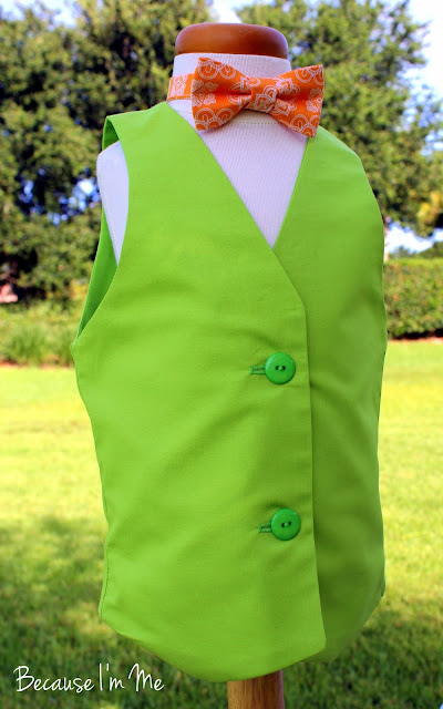 Because I'm Me lime green toddler boys vest and sherbet orange bow tie