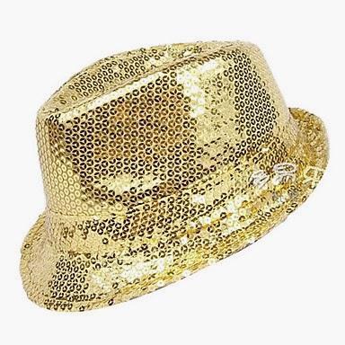 Sombrero Jazz Dorado con Lentejuelas