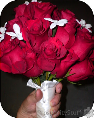 Bride's Bouquet - Red roses, satin ribbon