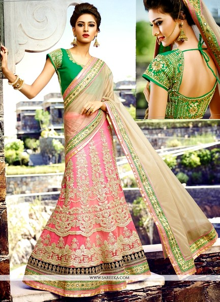 Stunning Cream And Hot Pink Net Lehenga Style Saree For Brides