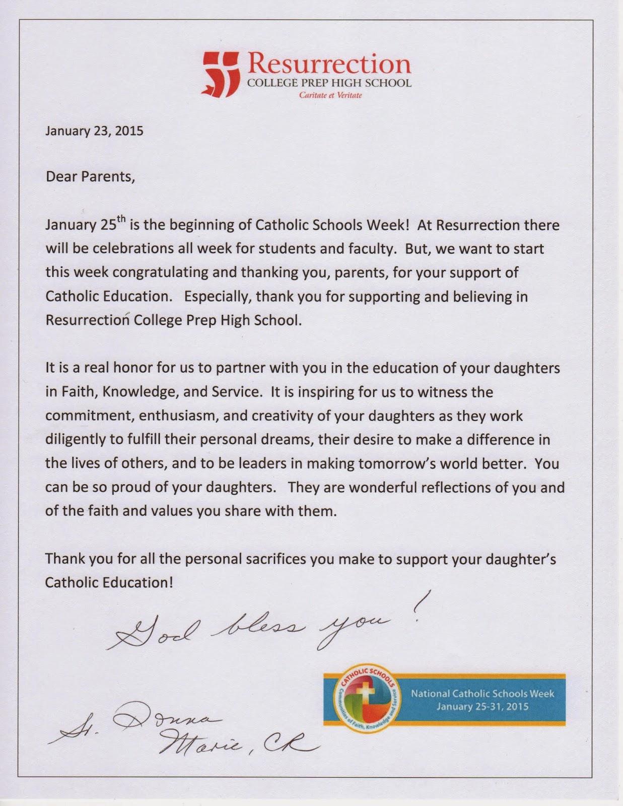 Presidents blog letter to parents for catholic school week letter to parents for catholic school week aljukfo Images