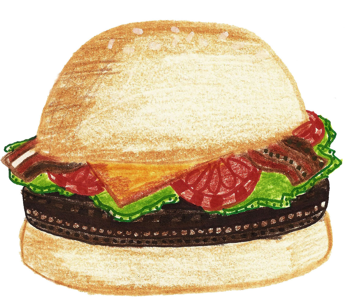 This is a cheeseburger with bacon and lettuce and tomatoes Bacon Cheeseburger Clip Art