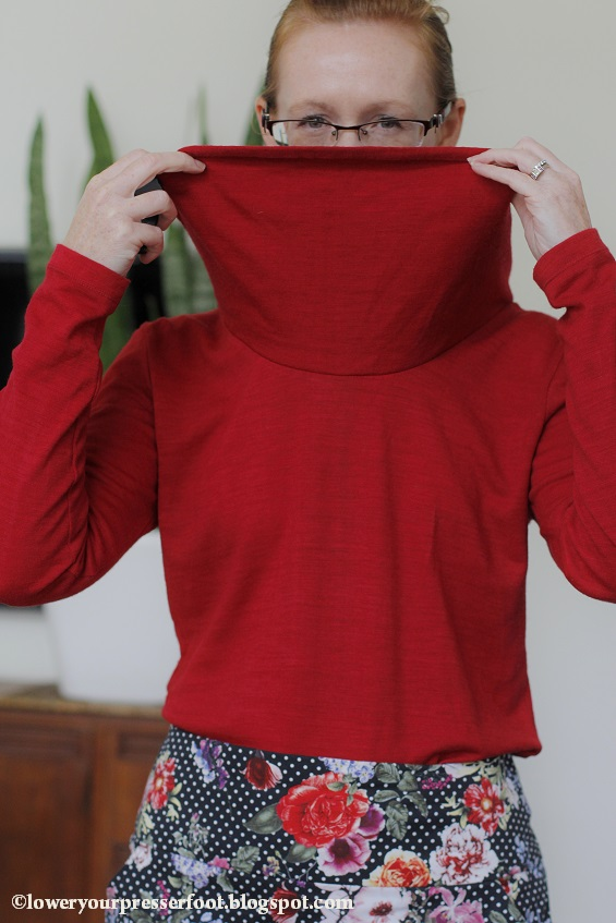 Kwik Sew 3740 cowl neck top in red wool knit www.loweryourpresserfoot.blogspot.com