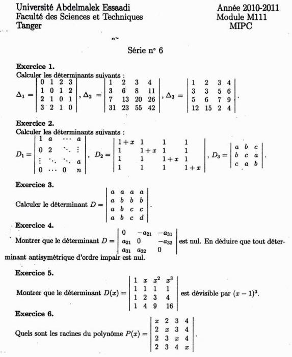 Algebre 2 Exercices Corriges Sur Les Determinants