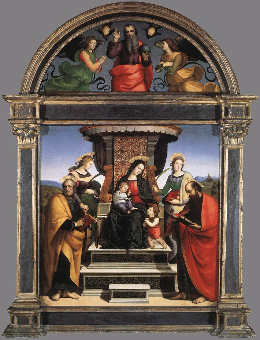 madonna child enthroned saints raphael essay Madonna and child with book artist:  blue arch of the madonna's silhouette encloses the figure of the  raphael has depicted more than just a beautiful image.