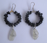 Handmade black stone and white seaglass hoop earrings