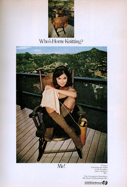 Who's Home Knitting? ad for American Thread via Serendipity Handmade blog.