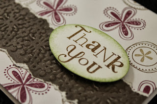 flowers berry pink wasabi green chocolate brown thank you card by Handiworkin' Girls