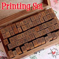 Wooden Rubber Stamp Box - Vintage Print Style £7.34