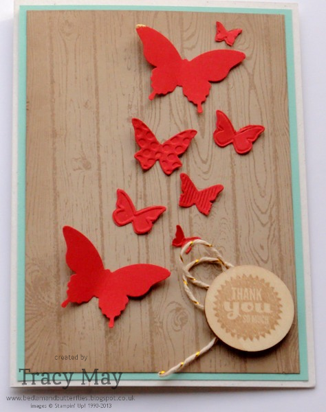 Stampin up Beautiful Wings Hardwood thank you card Tracy May Card making ideas