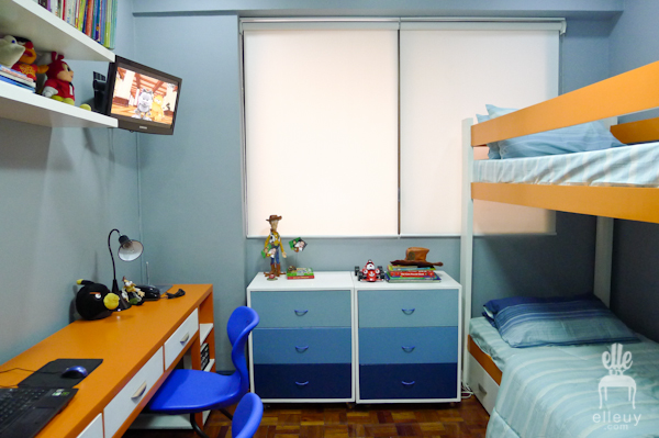 boys bedroom, blue and orange room