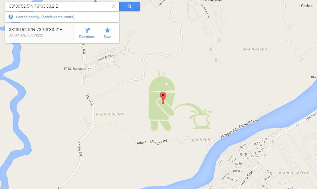 Internet's Best Secrets: Android ing on Apple in Google Maps ... on easter eggs on bing, easter eggs on google search, easter eggs on movies, easter eggs on google street view, easter eggs on pinterest, easter eggs on games, easter eggs on google earth,