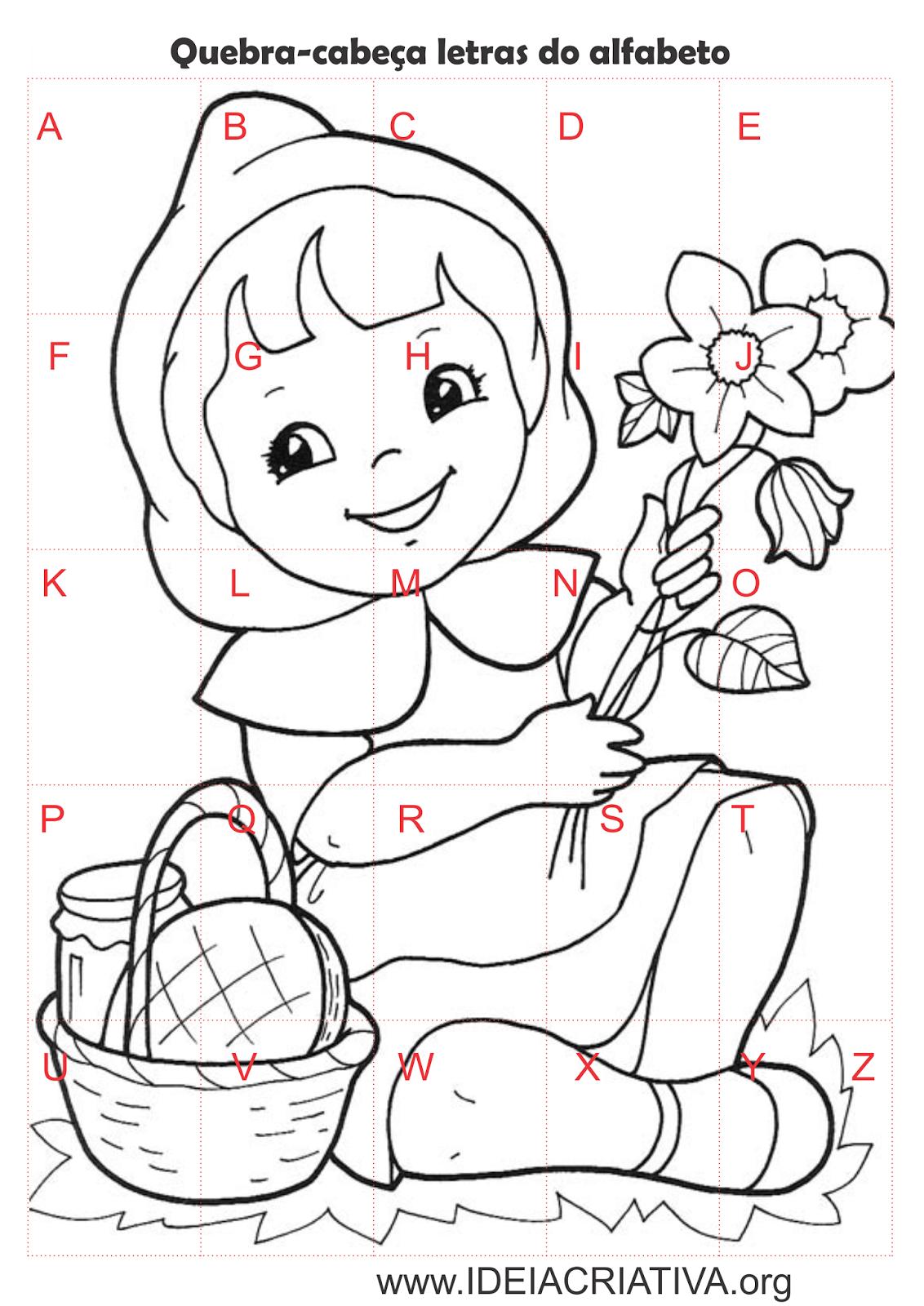 Quebra cabeça Chapeuzinho Vermelho Letras Alfabeto