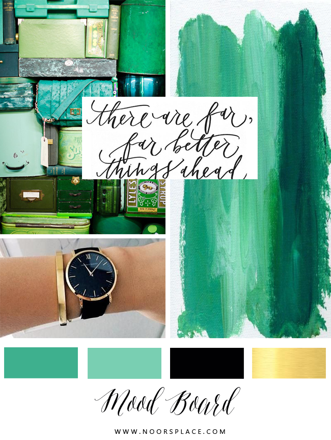 Emerald Mood board for lifestyle blog