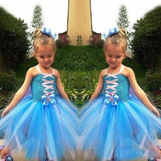 Tutu dress elsa frozen model terbaru warna biru cantik
