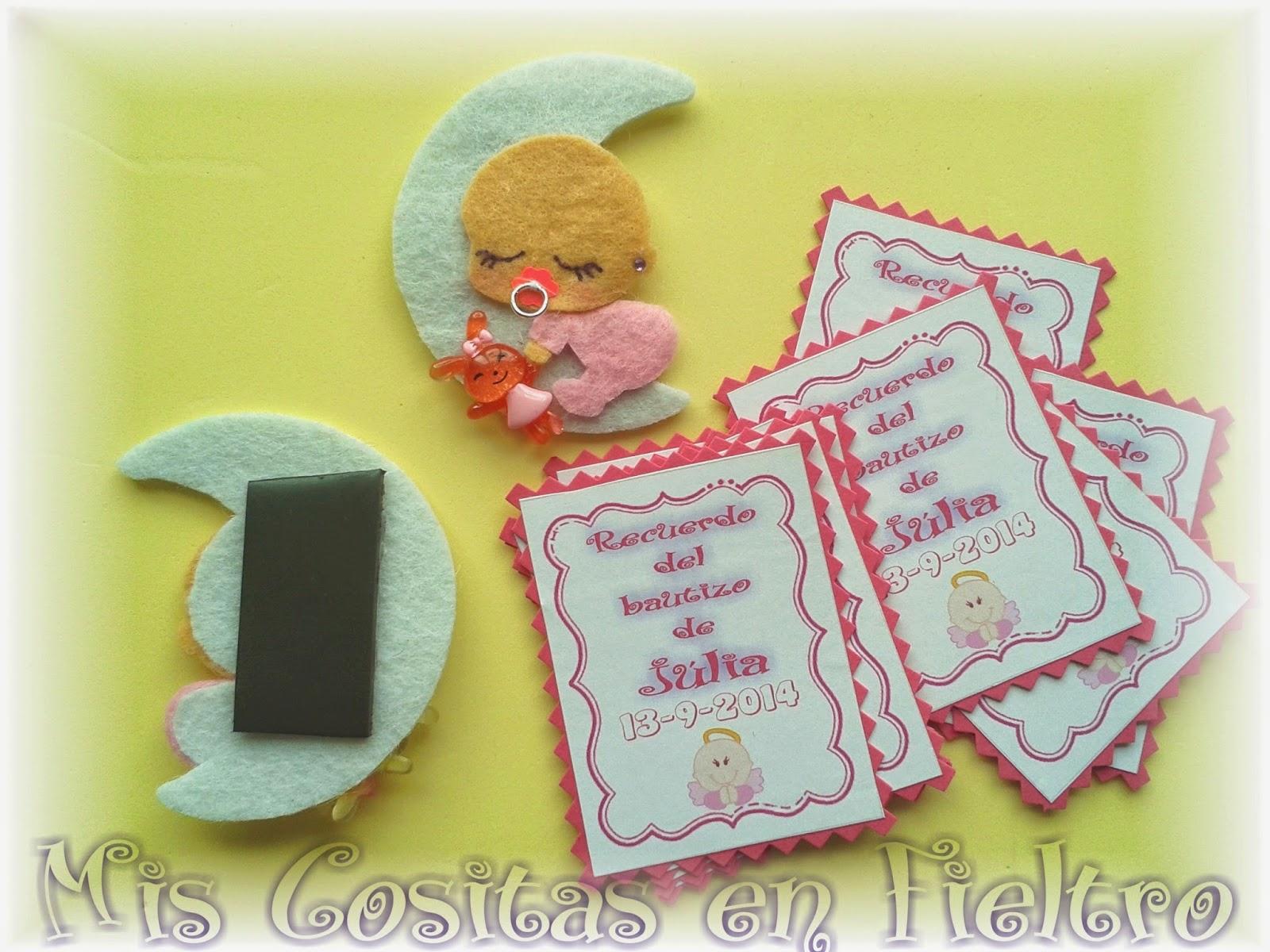 fieltro, imán, souvenir iman, regalo imán, imán bebé, bebé, bautizo, bautismo, souvenir, luna, invitados, detalle invitados