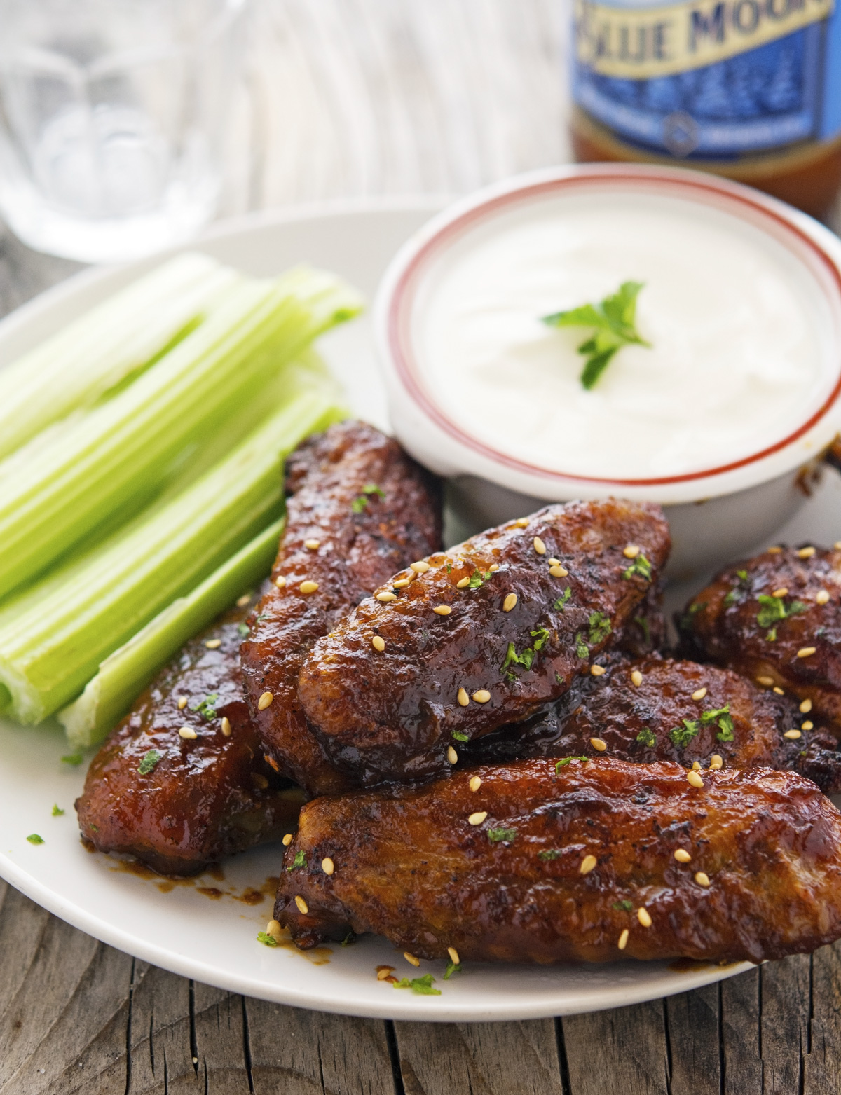 Baked Sticky Sriracha-Honey Chicken Wings