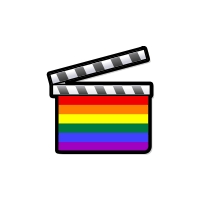 a rainbow clapper board