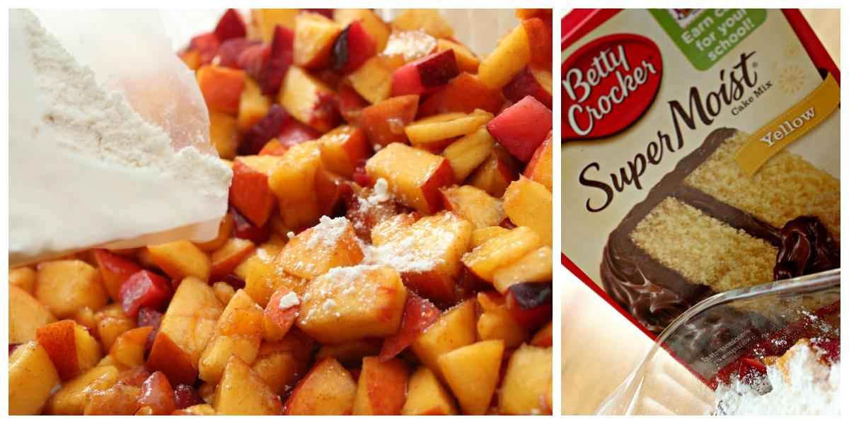 Fresh Peaches And Yellow Cake Mix