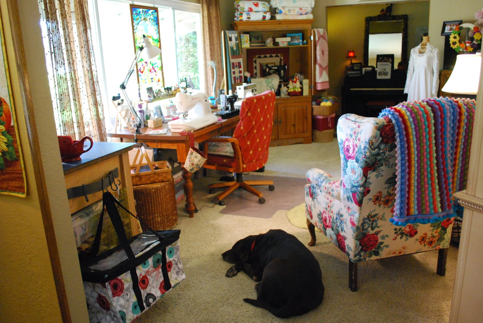 sewing area in living room