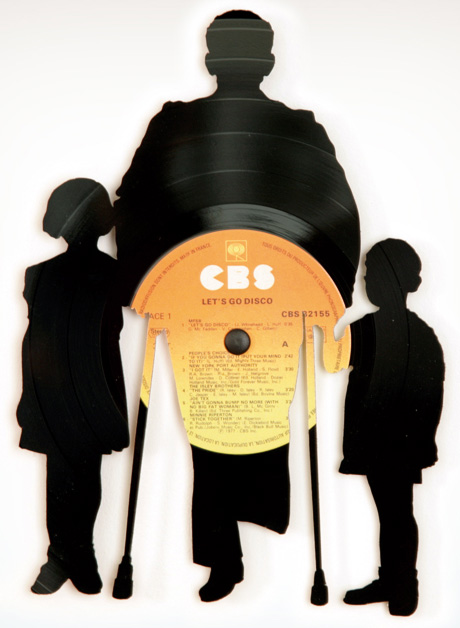 Discos de Vynil, Vinilo, Acetatos, Música, reciclar discos, Siluetas, Vinilos
