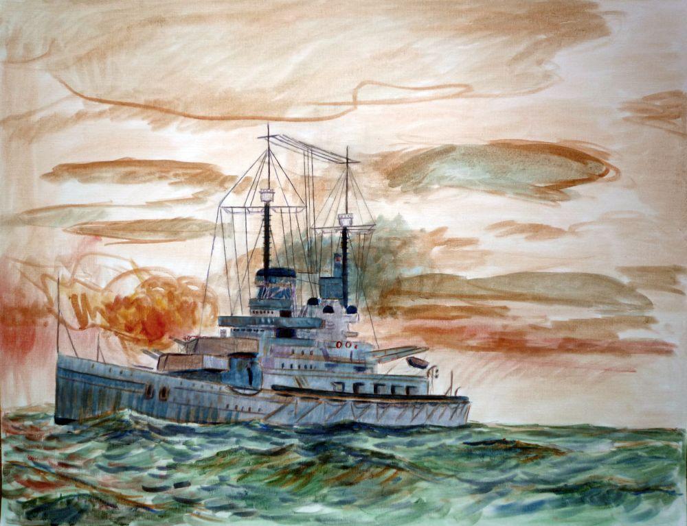 Tercera version oleo del barco de guerra Alemán SMS Lutzow