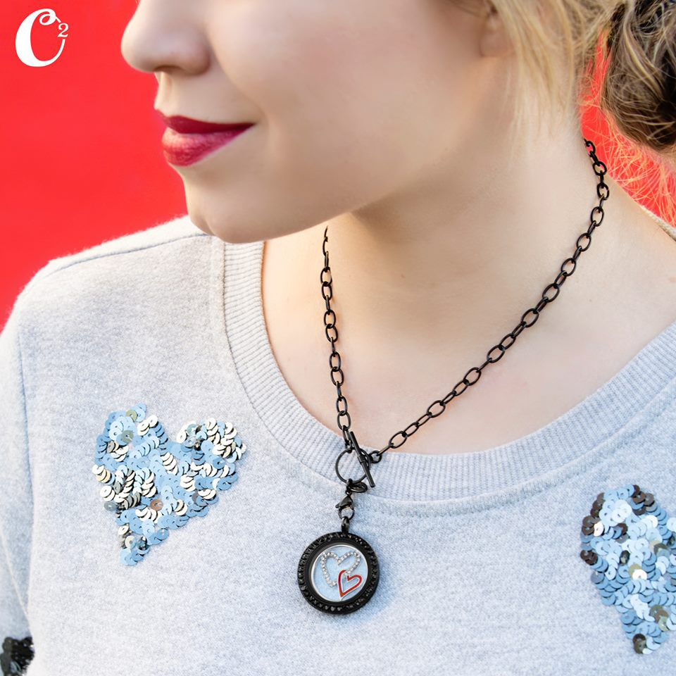 Double Heart Black Origami Owl Living Locket - come create your own Locket today at StoriedCharms.com