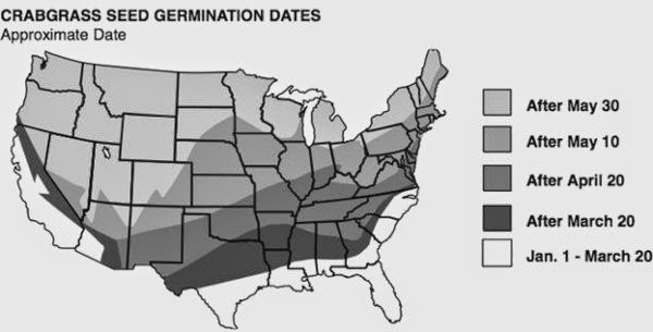 IaTURF When Do I Apply My Crabgrass Preventer - Us map of approximate crabgrass seed germination dates