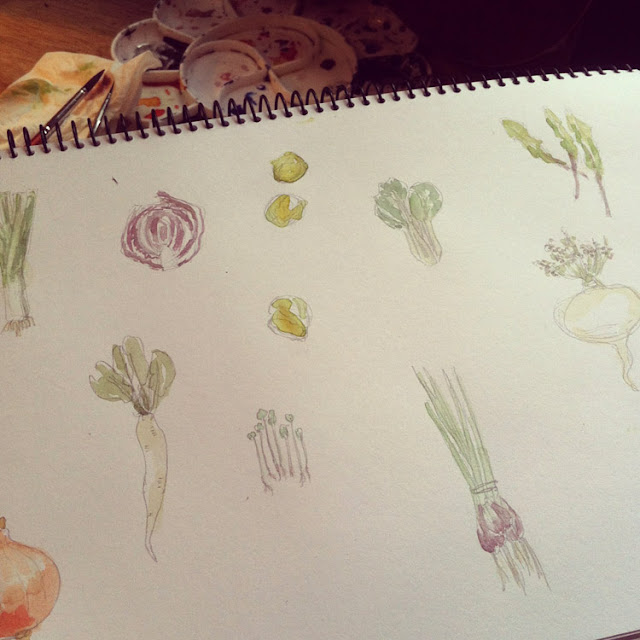 watercolor collage painting of macrobiotic vegetables, daikon, cabbage.