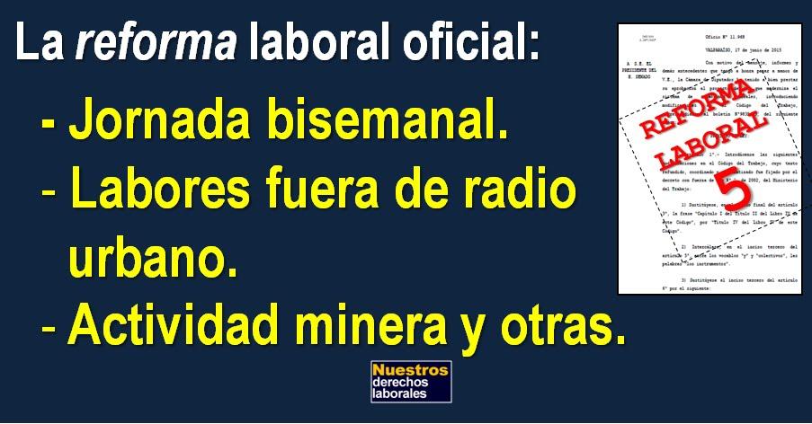 """La """"reforma"""" laboral oficial: Jornada bisemanal. Labores fuera de radio urbano. Minería y otras."""