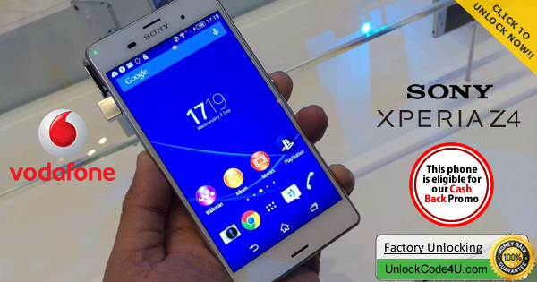Factory Unlock Code for Sony Xperia Z4 from Vodafone