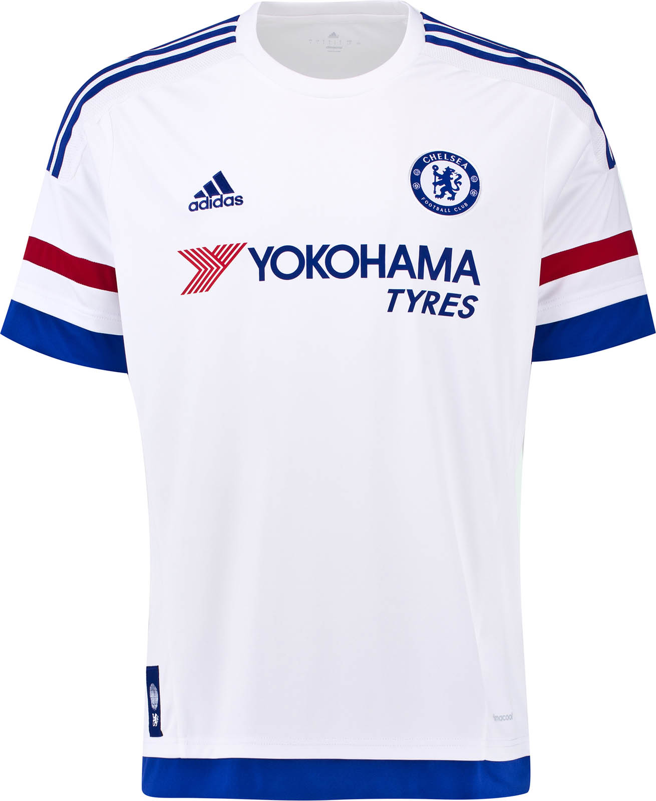 028d25d08b2 The new white Adidas Chelsea 15-16 Away Kit has a modern kit design with a  simple white crew neck collar. The Yokohama sponsor logo on the Chelsea 2015 -2016 ...