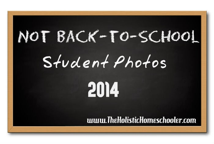 """These are my daughters' """"Not"""" Back-to-School student photos for the homeschool year 2014-15."""