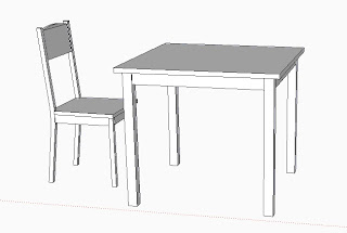 My table and chair in Sketchup