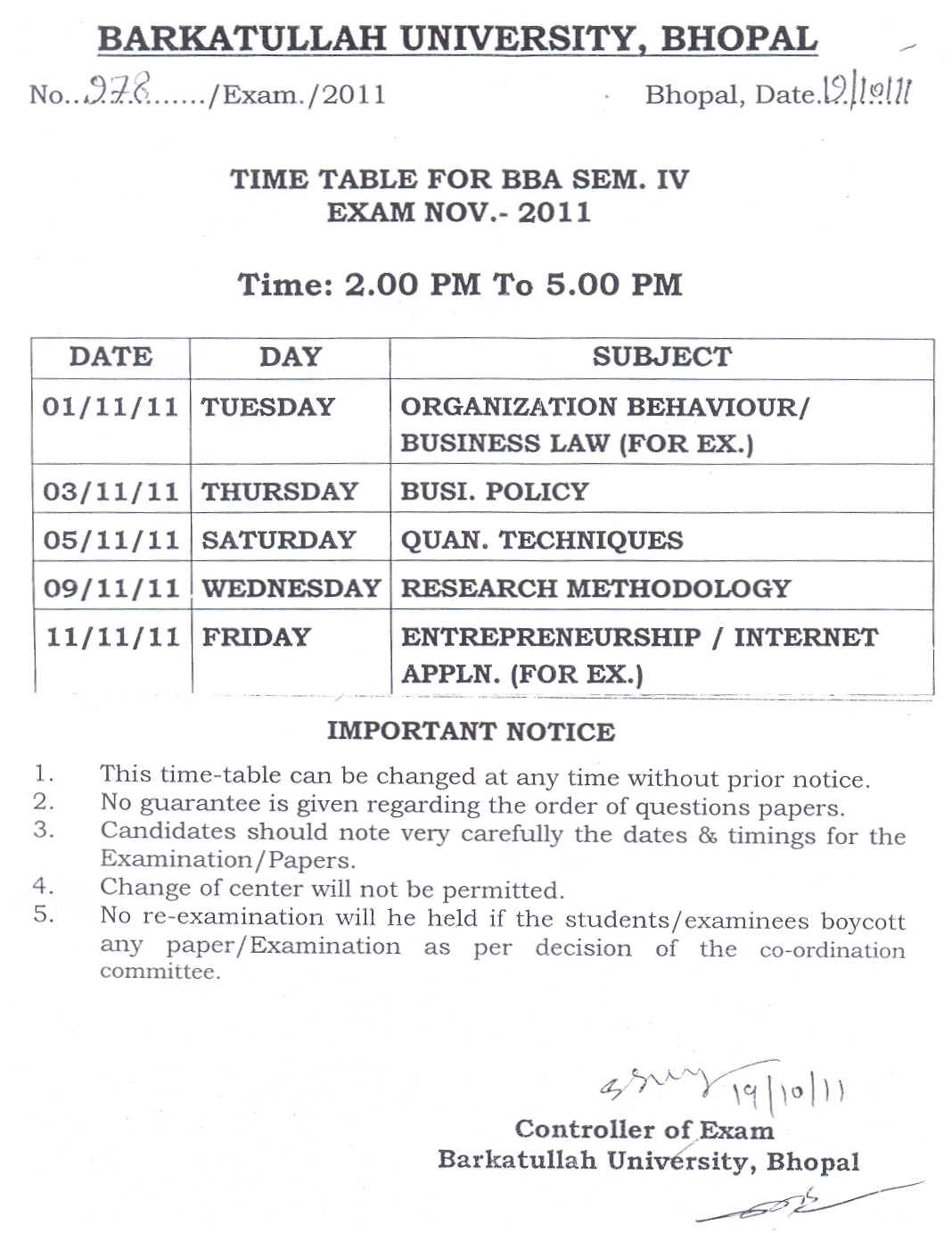 Barkatullah university madhya pradesh time table for b for Bu time table 5th sem