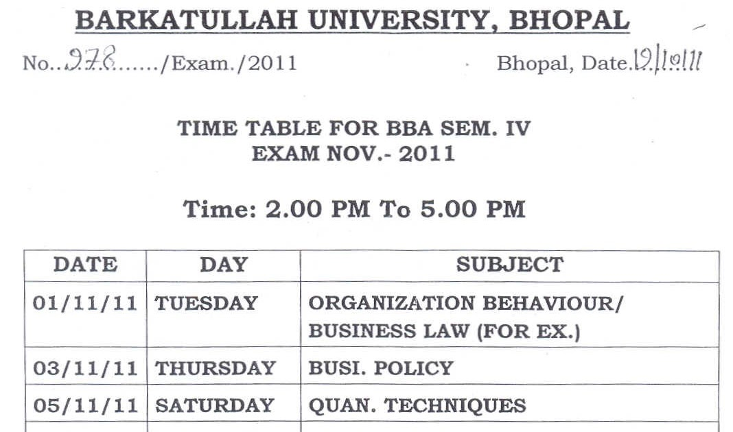 Barkatullah university madhya pradesh time table for b for Rgpv time table 6th sem 2015