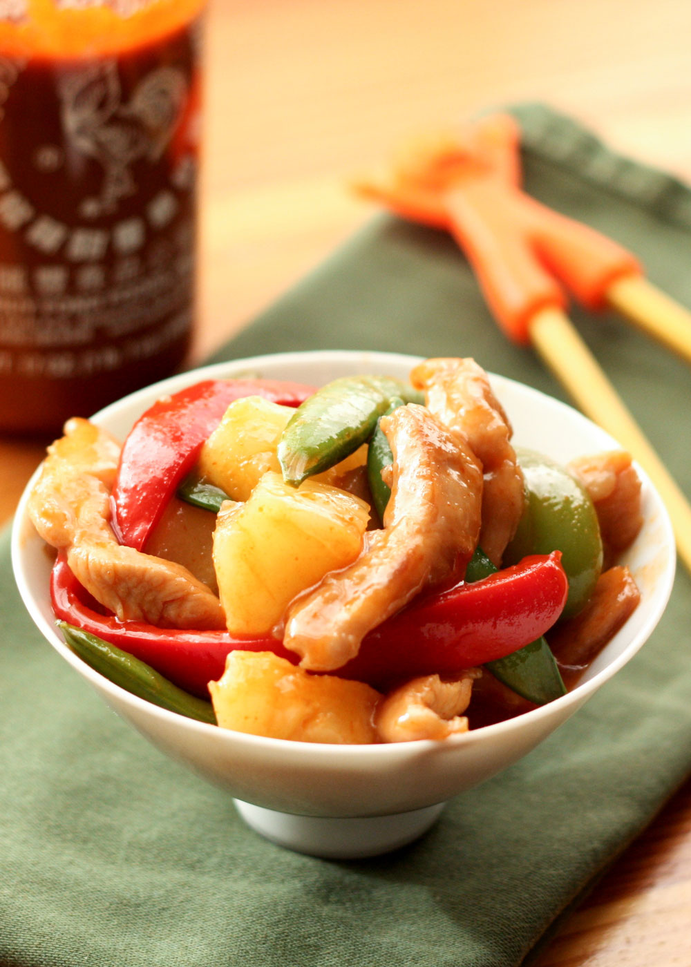Sweet and Sour Chicken Stir-Fry is ready to eat in 30 minutes or less! - get the recipe at barefeetinthekitchen.com