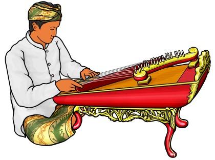 ガムランで使う弦楽器:チェレンプン celempung