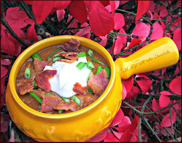 Bean and Chorizo Crock Pot Soup, Humble food elevated to a new category of fantastic flavors. Bring the heat back in with this tasty soup!