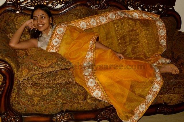 Attractive Yellow Tissue Saree