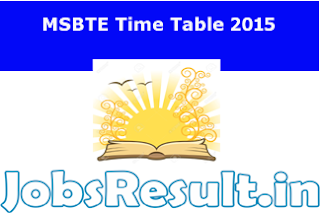 MSBTE Time Table 2015