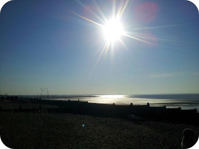 Whitstable beach, pebble beach, spring sunshine