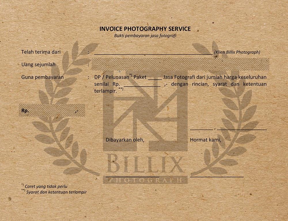 Invoice Jasa Fotografi Dan Formulir Pemesanan Billix Studio